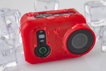 Action camera with water drops
