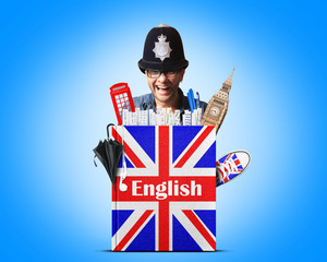 English language textbook with the British flag and policeman