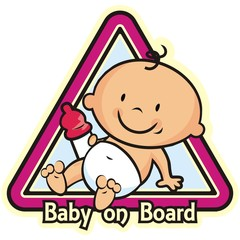Baby girl on board, car sticker., vector icon