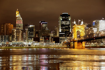Cincinnati skyline with city lights reflecting on the Ohio River in the foreground