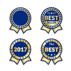 Blue ribbon awards best seller of year 2017 set. Gold ribbon award icons isolated white background. Best product golden label for prize, badge, medal, guarantee quality product Vector illustration