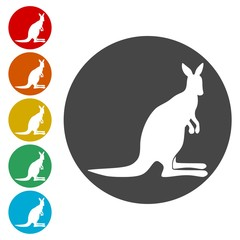 Kangaroo icons set - Illustration