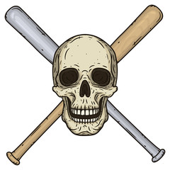 Vector illustration of human Skull with crossed baseball bats in hand drawn style.