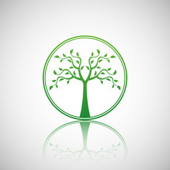 Abstract vector tree emblem. Eco lifestyle concept illustration.