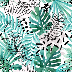 Abstract exotic leaves seamless pattern.