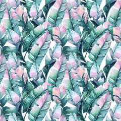 Watercolor banana leaf seamless pattern.
