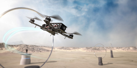 A racing drone takes a practice lap around a desert track. Wall mural
