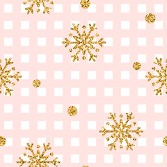 Christmas gold snowflake seamless pattern. Golden glitter snowflakes on pink and white square background. Winter snow design wallpaper. Symbol holiday, New Year celebration Vector illustration