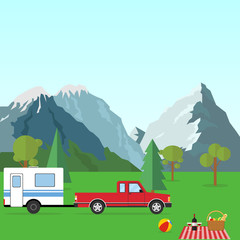 A car with a trailer in nature. Camping in the mountains