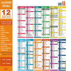 Calendrier 2018 éditable, multicolore