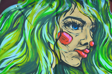 The old wall, painted in color graffiti drawing with aerosol paints. Image of the face of an informal girl with green lush hair
