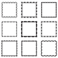vector set of ornate black picture frames isolated on white