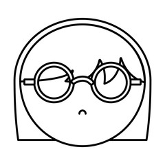 girl with glasses icon over white background vector illustration