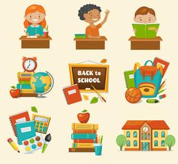 Back to school set,  cartoon style, vector illustration