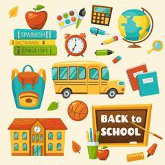 Back to School set, vector illustration, cartoon style