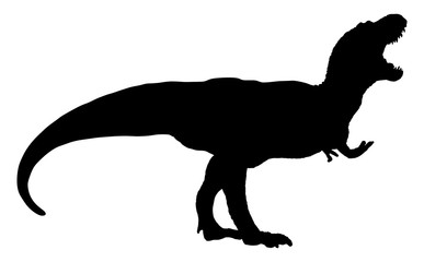 Isolated silhouette of dinosaur on white background. Silhouette illustration of a tyrannosaurus rex.