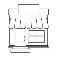 storefront building shop facade front view on white background vector illustration