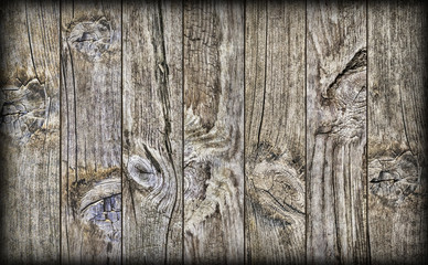 Old Weathered Knotted Cracked Rustic Pine Wood Planking Coarse Vignetted Grunge Texture