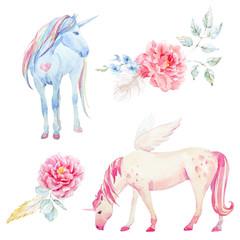 Watercolor unicorn and pegasus