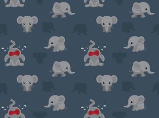 Cute Big Head Elephant Cartoon Seamless Wallpaper