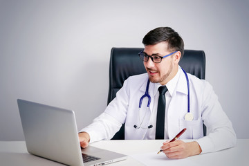 male doctor with stethoscope. gesture of medical doctor