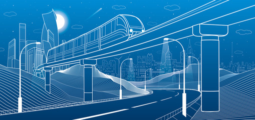Monorail in mountains. Illuminated highway. Transportation illustration. Tower and skyscrapers, modern city, business buildings. Night scene. White lines on blue background. Vector design art