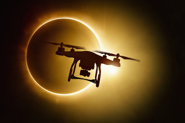 Drone silhouette on total solar eclipse background Wall mural