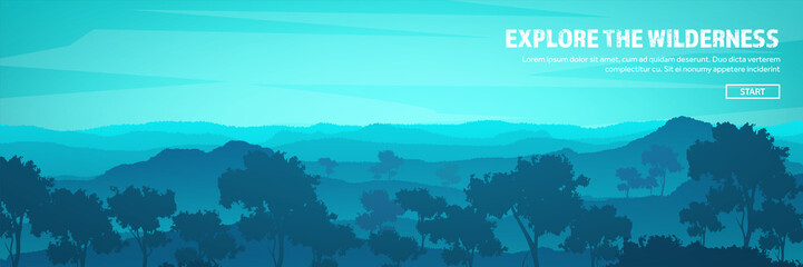 Poster Turquoise Mountains and forest header. Wild nature landscape. Travel and adventure.Panorama. Into the woods. Horizon line.Trees,fogfog.
