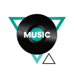 A beautiful vinyl record in the triangle. Music. Vector illustration for a postcard or a poster, print for clothes. Vintage and retro.