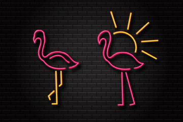 Vector realistic isolated flamingo retro neon signs for decoration and covering on the wall background.