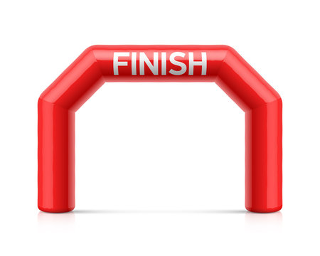 Inflatable finish line arch illustration. Red inflatable archway, suitable for different outdoor sport events like marathon racing, triathlon, skiing and other
