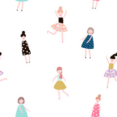 Seamless pattern with fashion girls. Modern style flat vector background.