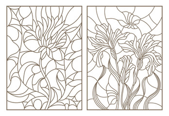 Set contour illustrations of stained glass with flowers, thistles and irises with butterflies