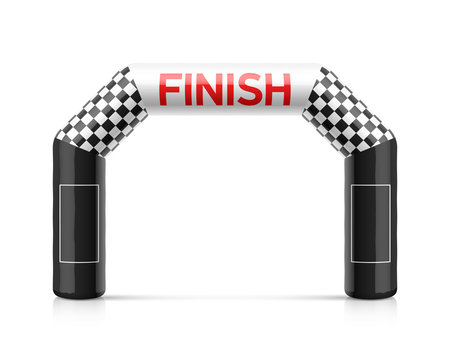 Inflatable finish line arch illustration. Inflatable archway template with checkered flag and places for sponsors advertising. Suitable for different outdoor sport events