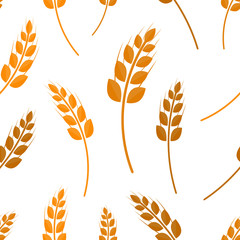 Vector flat seamless pattern of wheat on the white background. Concept of bakery, organic food and harvest.