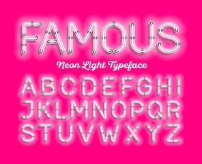 Famous, neon light typeface. White modern neon tube glow font