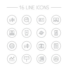Set Of 16 Trade Outline Icons Set.Collection Of Stand, Target, Brand Awareness Elements.