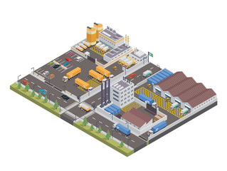 Modern Isometric Big Industrial Factory and Logistic Warehouse Complex, Suitable for Diagrams, Infographics, Illustration, And Other Graphic Related Assets