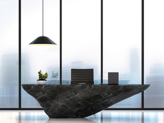 Modern luxury working table with black marble stone 3D rendering image.There are white floor.Furnished with black marble stone table.There are large windows look out to see the city in the fog