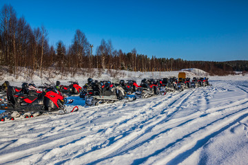 The trip on snowmobiles