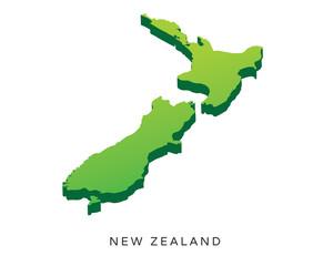 Modern Detail Isometric 3D Map - New Zealand