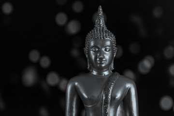 Black and white portrait of Buddha with soft bokeh in background