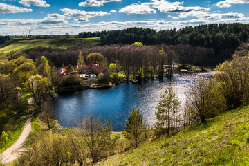 Spring view of the pond Turtul in Suwalski landscape park, Podlasie, Poland