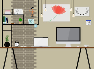 interior vector in loft space with vintage brick wall. workspace with wooden table computer and other items.