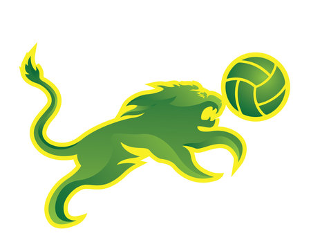 Modern Brave Lion Logo - Sporty Lion Chasing Volleyball