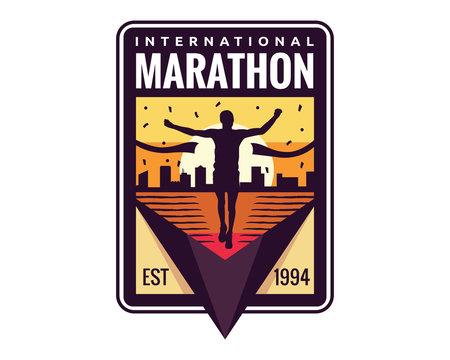 Modern Urban Marathon Badge Logo Emblem