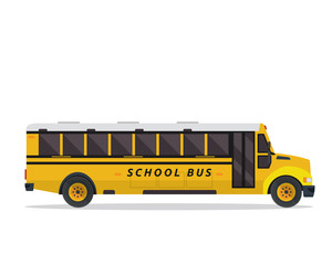 American Yellow School Bus Illustration, Suitable For Print, Game Asset, Infographic, Web, And Other Graphic Related Purpose