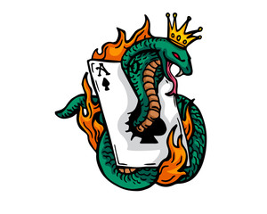 Vintage Tattoo Art Illustration - Flaming Gambling King Cobra