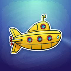 Vector illustration. Toy yellow submarine floating deep underwater. Sticker in cartoon style with contour. Yellow bathyscaphe with periscope and portholes. Isolated on dark blue background