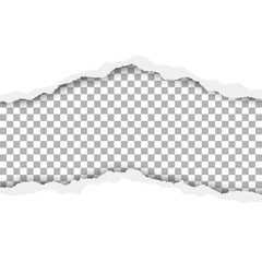 Vector snatched hole in white paper with transparent background. There are torn edges, soft shadow and space for text, copy or ad. Template paper design.